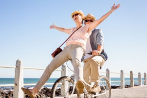 happy people on bike